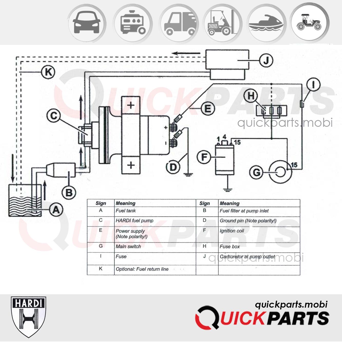 universal electrical fuel pump 12v | 60-80l/h | hardi 13312