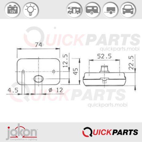 Front Marker Light | 12V | Jokon E1 0221653 E1 0221339