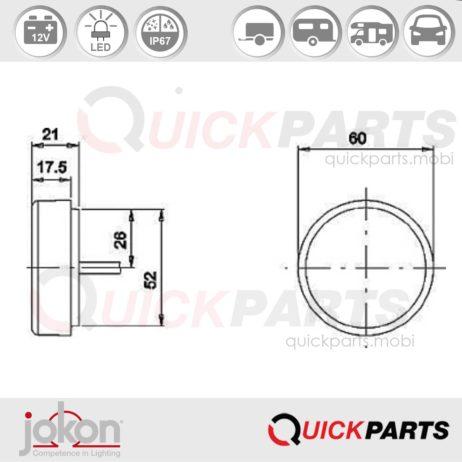 LED Front Marker Light | 12V | Jokon E2-07077 E2-07078