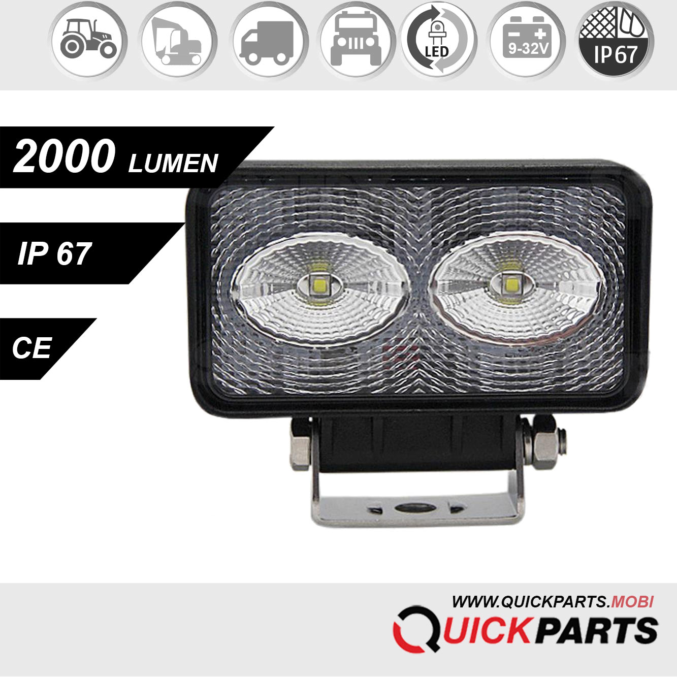 Phare de travail à LED | 2 LEDs | 20W