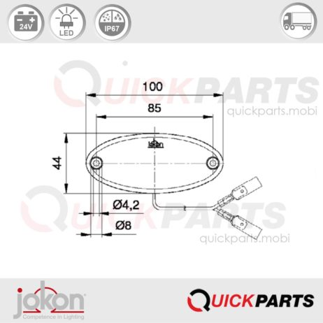 LED Seitenmarkierungsleuchte | 24V | Jokon E2-06028 + IA
