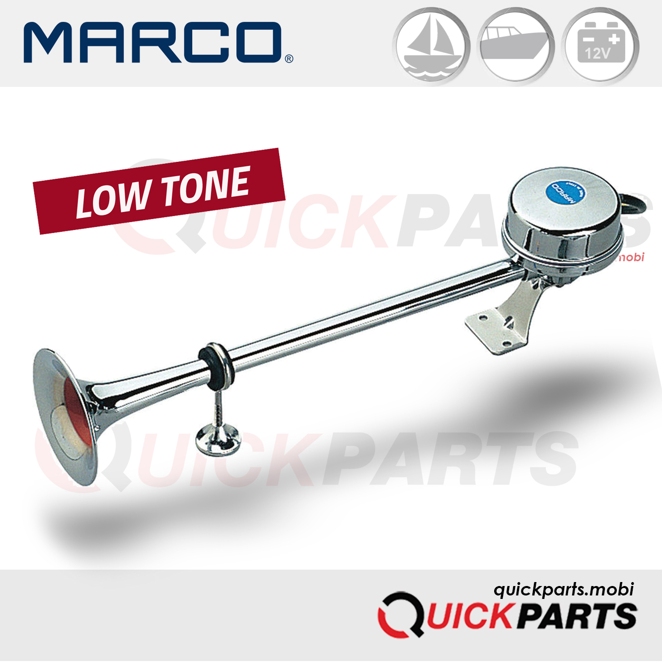 TOP QUALITYELECTRO-MAGNETIC HORN WITH STAINLESS STEEL TRUMPET (BOAT < 12 M) -12 VOLT