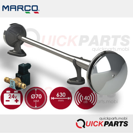 Compressed air horn for external mounting. Powerful sound. Stainless steel trumpet, complete with fixing hardware and front covers.