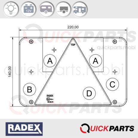 Feu Radex pour remorque & caravane | 12V | Radex | Feu multifonction rectangulaire, stop, de position, éclaire plaque, feu de recul.