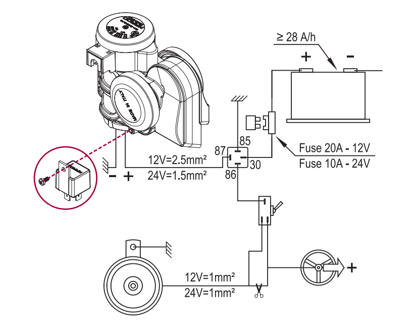 """Two tuned sounds electropneumatic horn 
