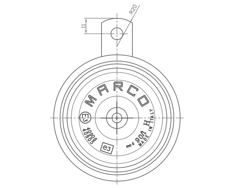 Electromagnetic disc horn, Diagram, Marco 102 000 13, 90/1-H