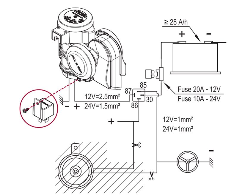 Two tuned sounds electropneumatic horn | 24V | Wiring diagram with ground lead to horn button, Marco 112 030 13, TR2