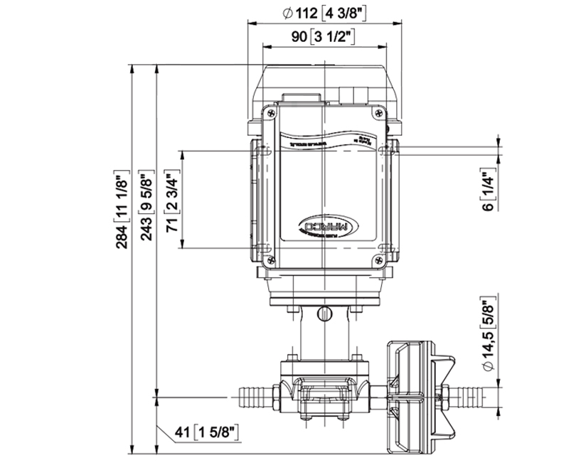 Self-priming Electric pumps, for Water and Alimentary Fluids | Dimensions, Marco 164 042 1C, UPX/AC