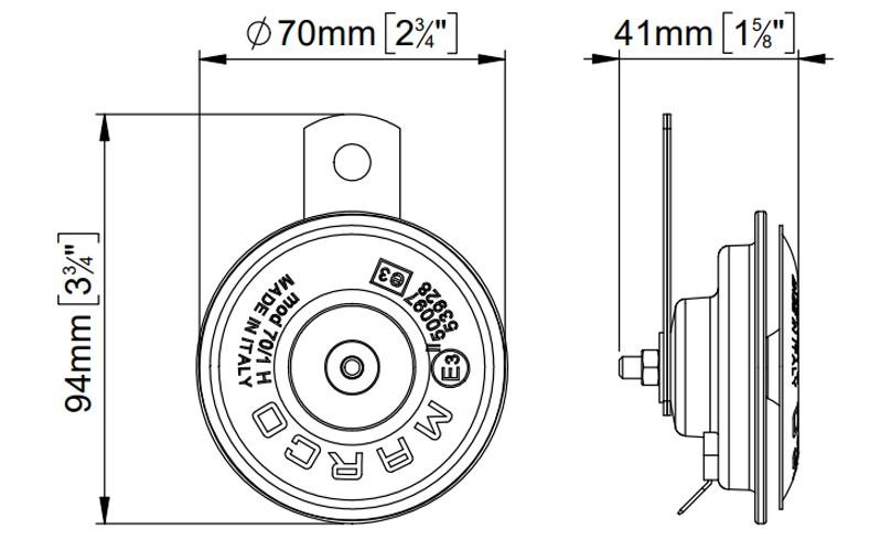 Electromagnetische Hupe| Ø 70 mm | Dimensionen, Marco 102 060 12, 70/1-H