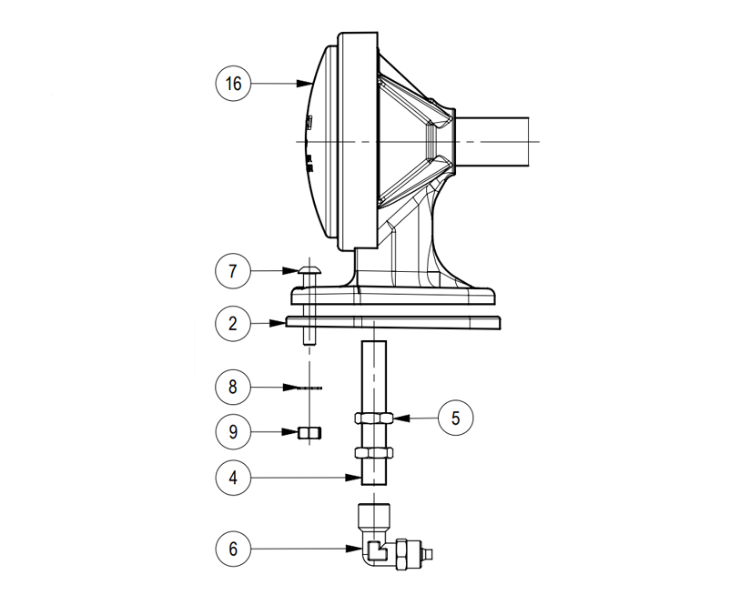 Electric Air Horn Chromed, Mounting layout diagram, Marco 110 090 13, MGT/L