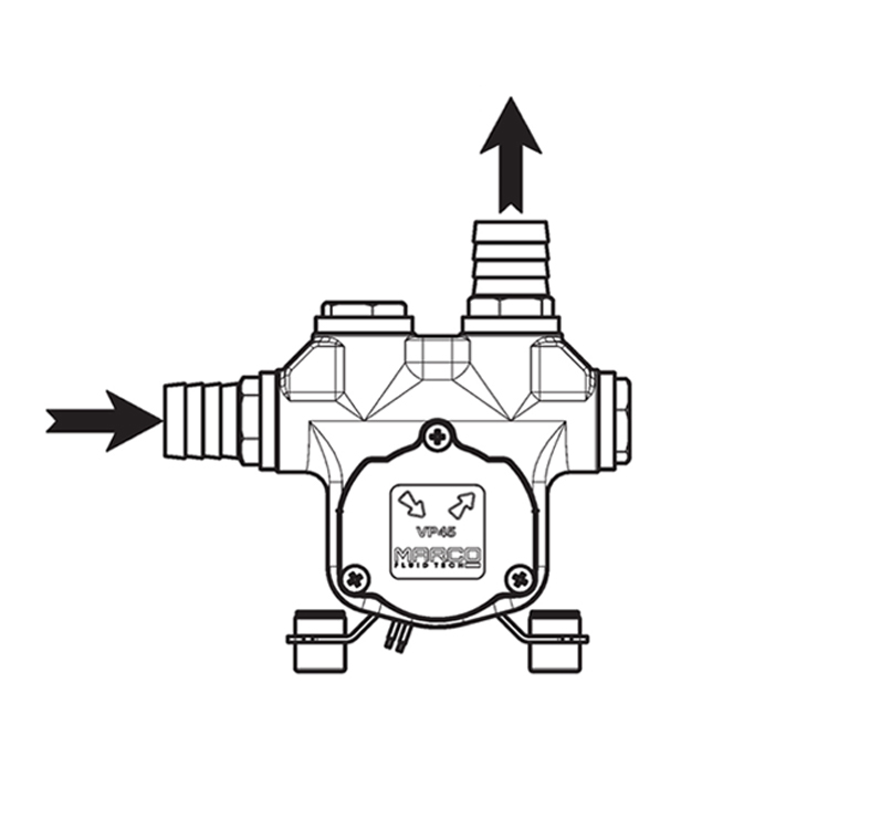 Self-Priming electric pump for various liquids | 12V | Marco VP45, Connection Options, Marco VP45, 166 020 12