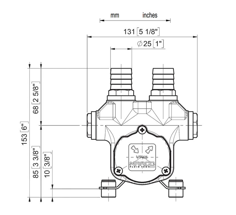 Self-Priming electric pump for various liquids | 12V | Marco VP45, Dimensions, Marco VP45, 166 020 12