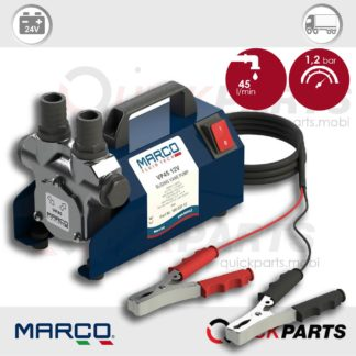 Self-priming electric vane pump with integrated by-pass valve|  24v