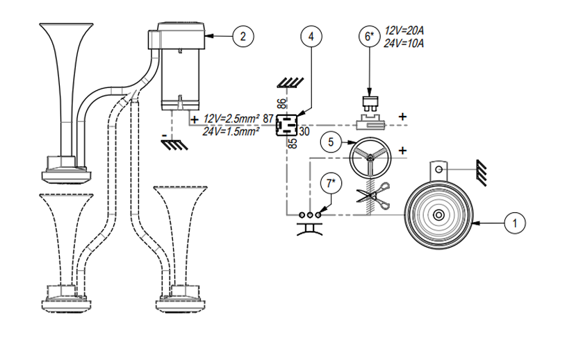 """Twin air horn for external mounting 
