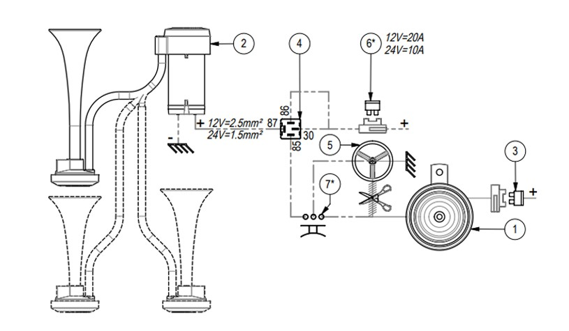 Twin air horn for external mounting | 12V | GROUND LEAD TO HORN BUTTON, Marco 112 320 12, TT2