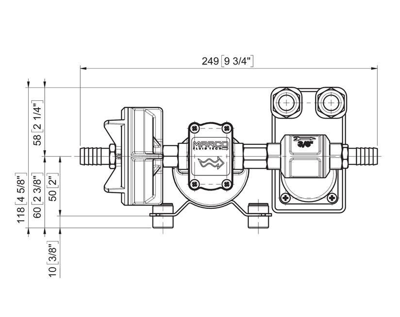 Self-Priming Electric Pump For Various Liquids | 12V | Marco UP3/A, Dimensions, Marco 164 600 12, UP3/A