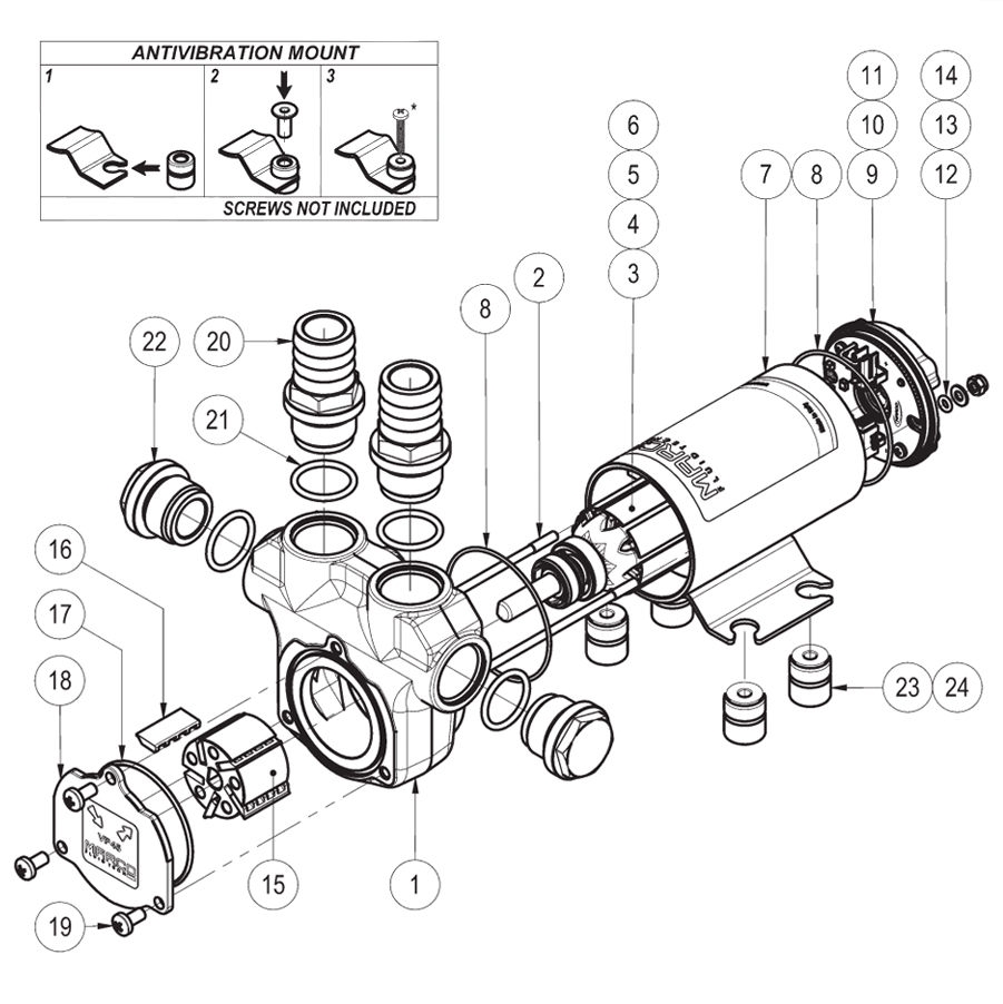 Self-Priming electric pump for various liquids | 12V | Marco VP45, Exploded View, Marco VP45, 166 020 12