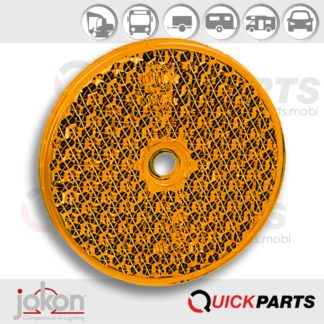 Yellow Reflex Reflector Ø 60 mm   mounting hole 6 mm  Jokon E1-0221354