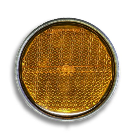 Yellow Reflex Reflector Ø 81.5 mm | Mounting hole| Metal fitting