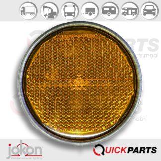Reflector Reflejo amarillo Ø 81,5 mm | Agujero de montaje | Guarnición de metal