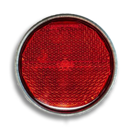 Catadioptre rond rouge | Ø 81.5 mm | Fixation boulon | Support métallique | Jokon 30.0007.000, E1-0121259.
