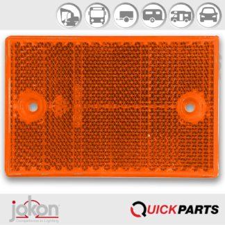 Yellow Reflex Reflector   2 mounting holes   Jokon E1-012134515 x 7 x 75 mm