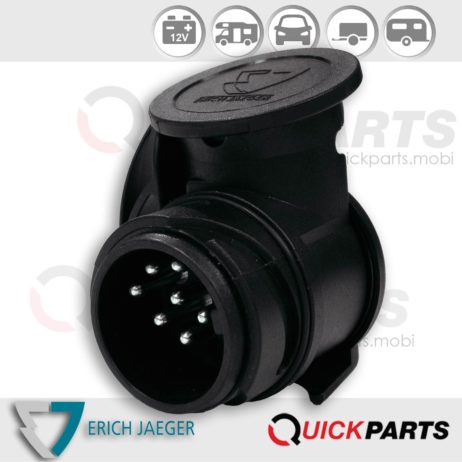 """Shorty"" mini short adapter from vehicle (13P/12V) to trailer (7P/12V), Standards ISO 11446"
