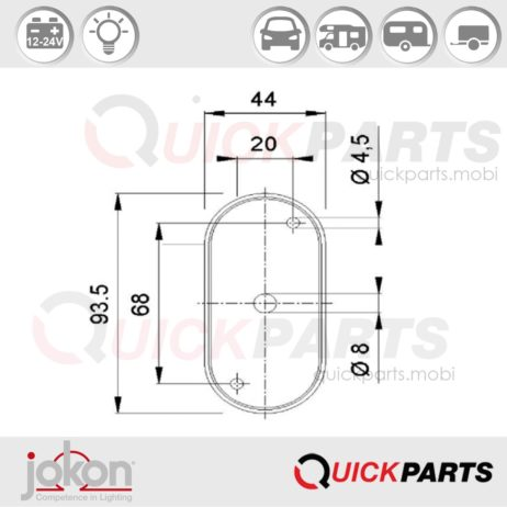 End-Outline Marker Light | 12-24V | Jokon E1-021023
