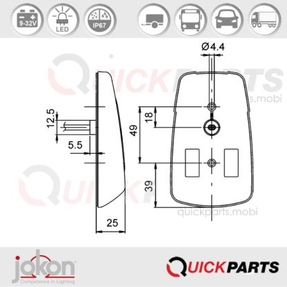 LED direccional lateral cat. 5/6   9-32V   Jokon E13-12809 EMV / EMC