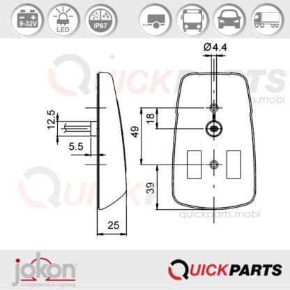 Feu indicateur de direction LED-DI Cat. 5/6 | Jokon E13-12809 EMV / EMC