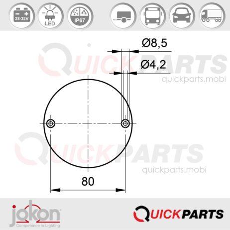 LED Mistlamp   28-32V   Jokon 13.3007.000, E2-0003036, SN 720/28V