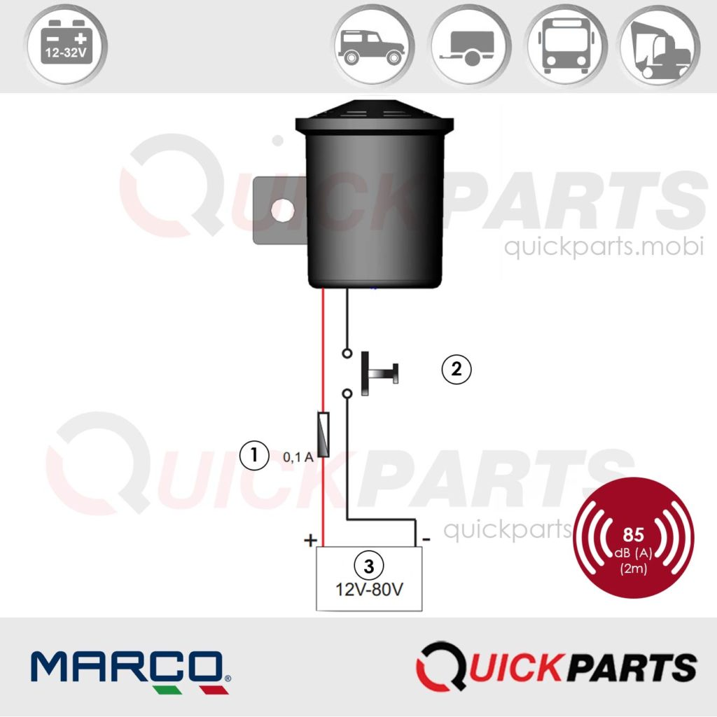 Back-up alarm for vehicles | Universal voltage 12-80V | 85 dB