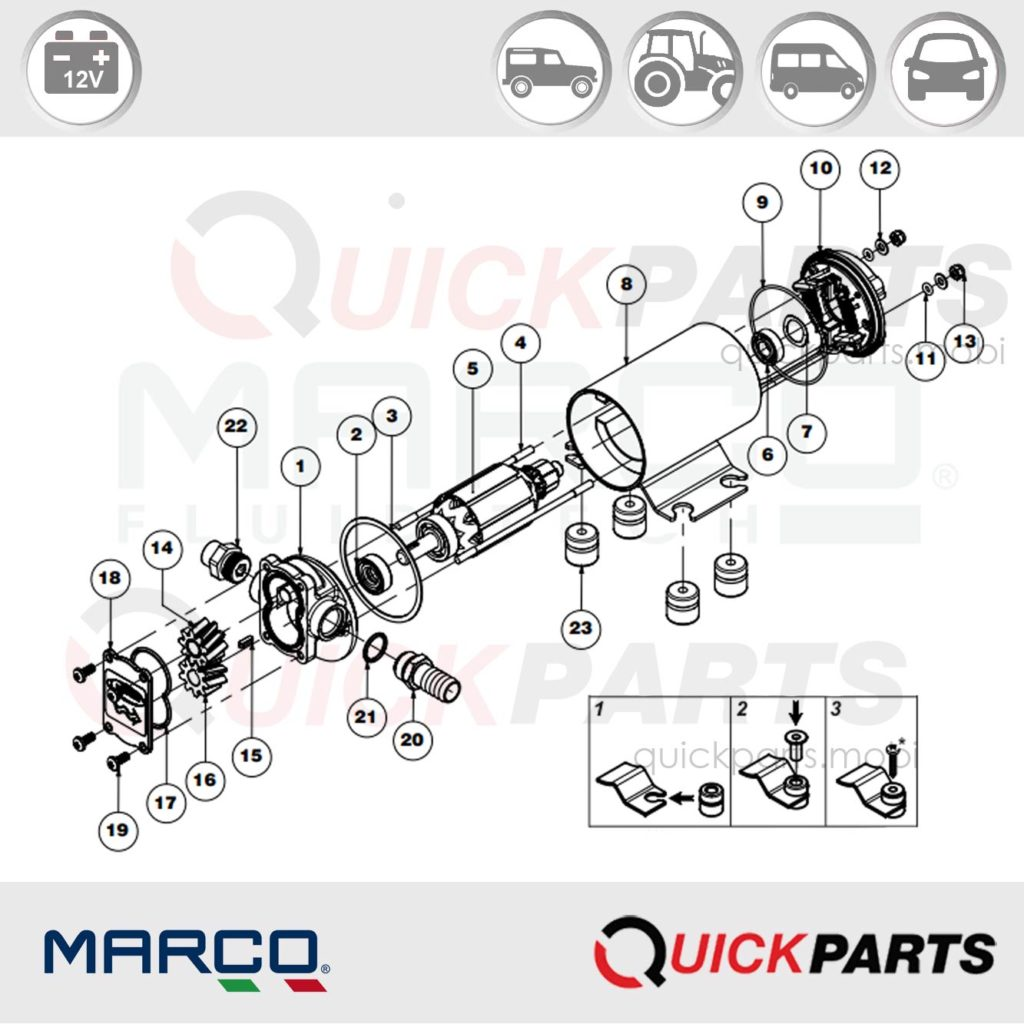 Gear pump for lubricating oil | 12V | UP3/OIL