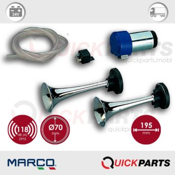 Twin metal chromed horns Air horn compressor combined sound | 24V | Marco 112 020 13, CL2
