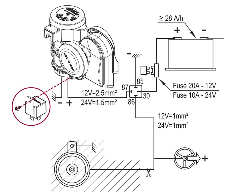 Kompakte zweiton Hupe + integriertem Kompressor | 12V | Schaltplan mit