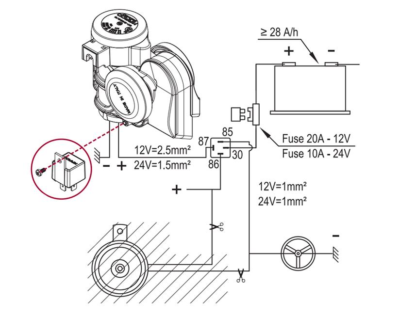 Kompakte zweiton Hupe + integriertem Kompressor | 12V | Schaltplan mit Erdungskabel zum Hupenknopf, Marco 112 030 12, TR2