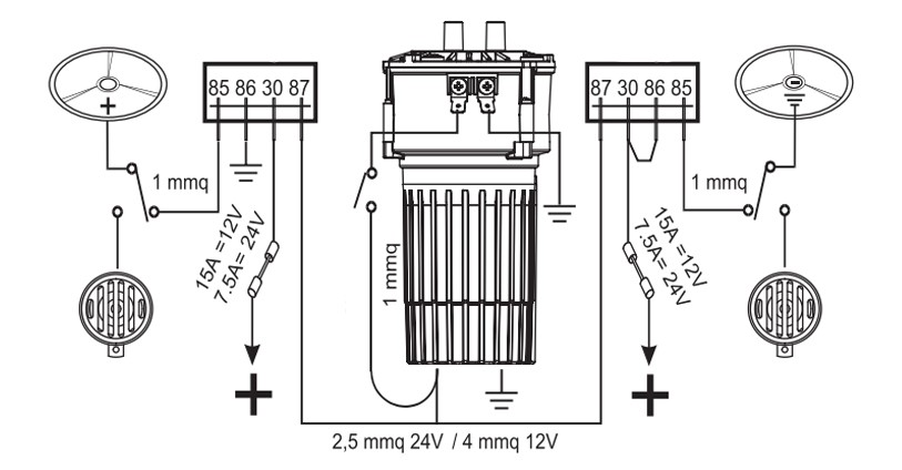 Twin air horn with alternating sound | 12V | Diagram, Marco 112 340 12, K2