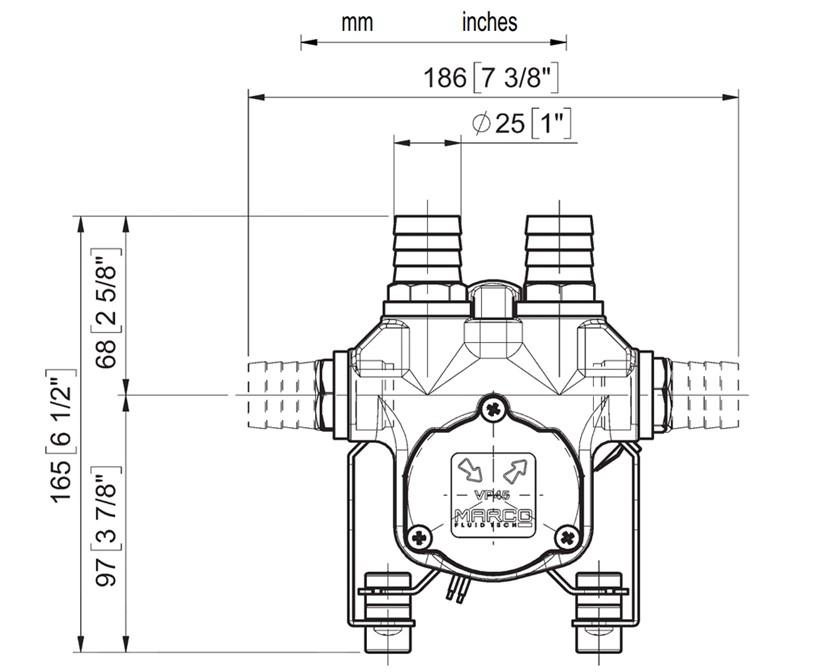 Self-Priming electric pump for various liquids | 24V | Dimensions, Marco 166 026 13, VP45-N