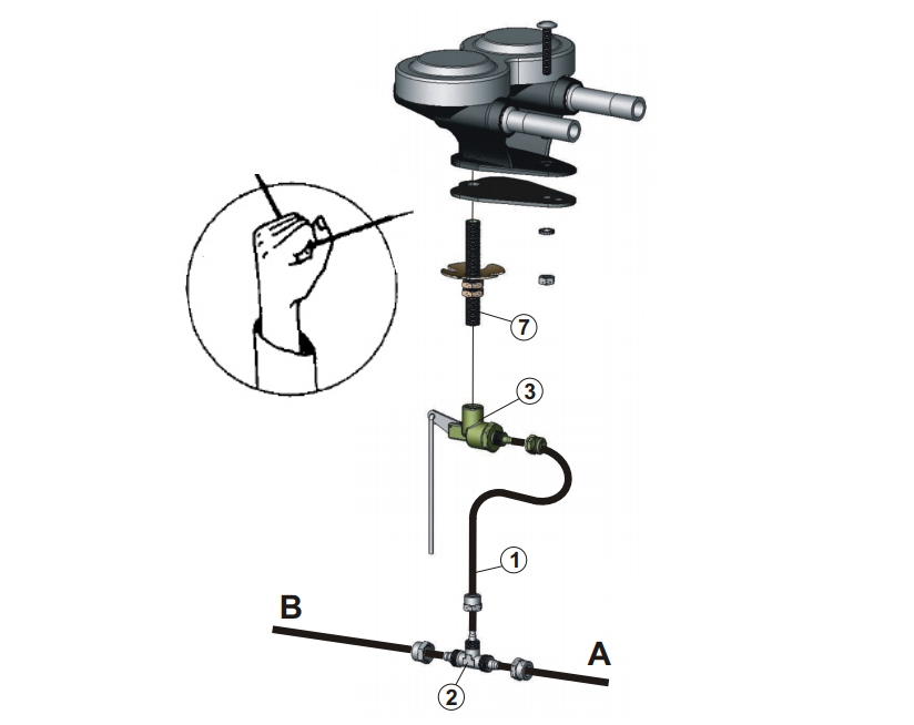 Compressed air horn for external mounting | Pull valve, Marco 110 000 10, P1