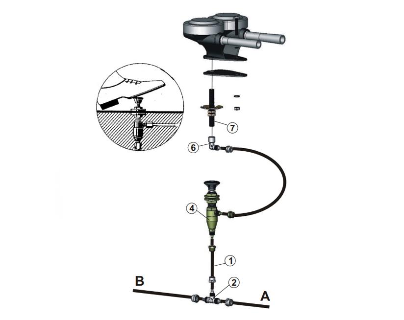 Drucklufthupe für externe Montage | Fußventil, Marco 110 000 10, P1