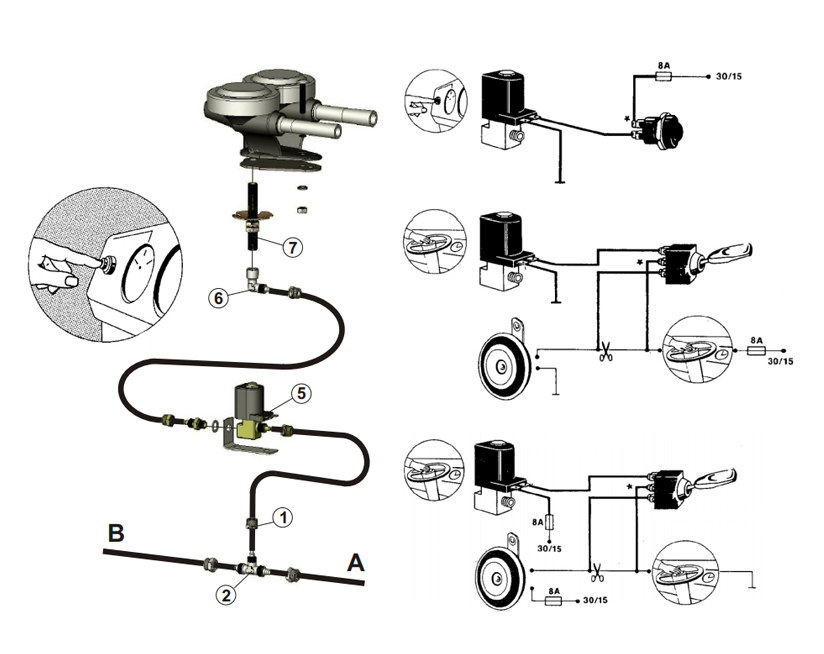 Drucklufthupe für externe Montage |Magnetventil, Marco 110 000 10, P1