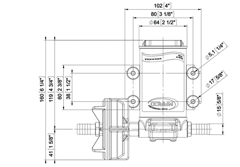 Self-Priming Electric Pump For Various Liquids | 24V | Dimensions, Marco 164 040 13, UPX