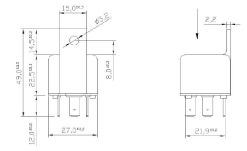 Relay 4 pin unboxed | 12V | Dimensions, Marco 120 000 02, R4M