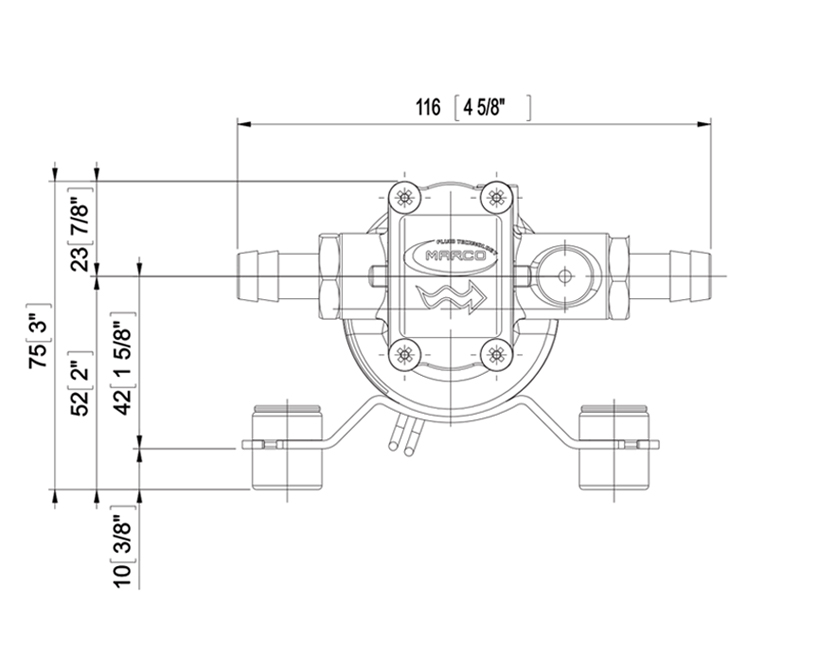 Self-Priming electric pump for various liquids | 12V | Marco UP2, Dimensions, Marco UP2, 164 200 12