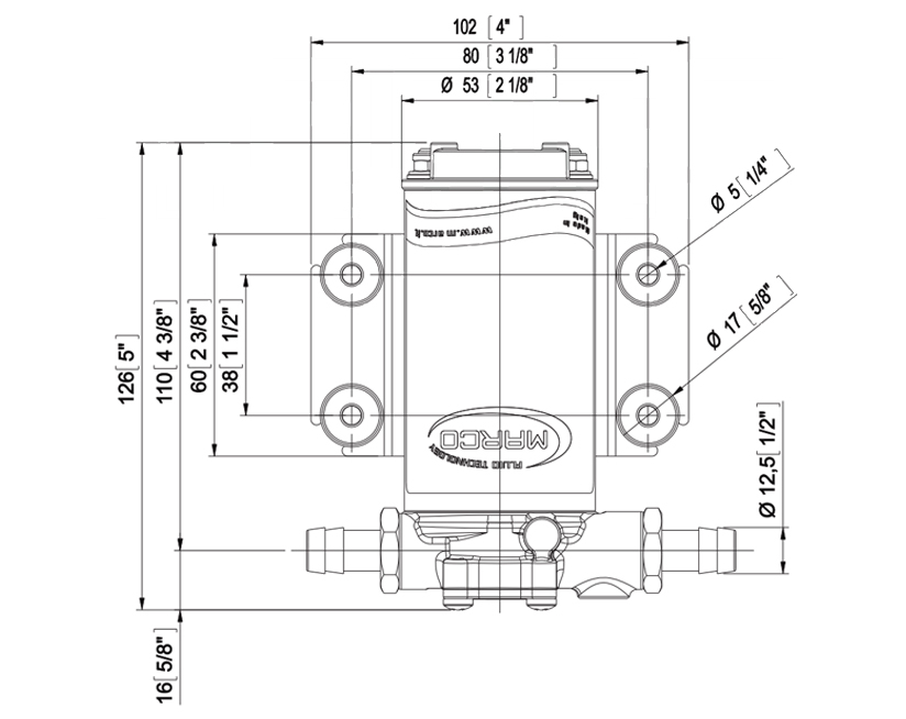 Self-Priming electric pump for various liquids   12V   Marco UP2, Dimensions, Marco UP2, 164 200 12