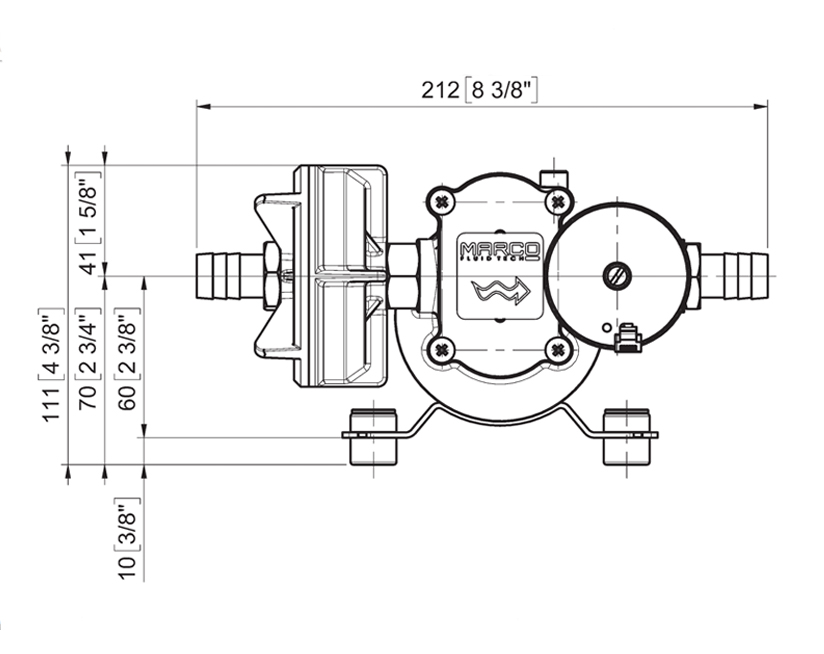 Self-priming electric pump for various liquids | 12-24V | Marco UP6/E, Dimensions, Marco 164 622 15, UP6/E