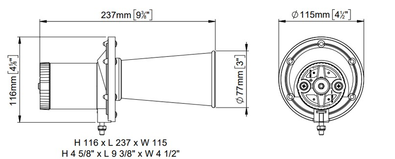 Electric vintage horn | 12V | Dimensions, Marco 104 001 12, TE/C