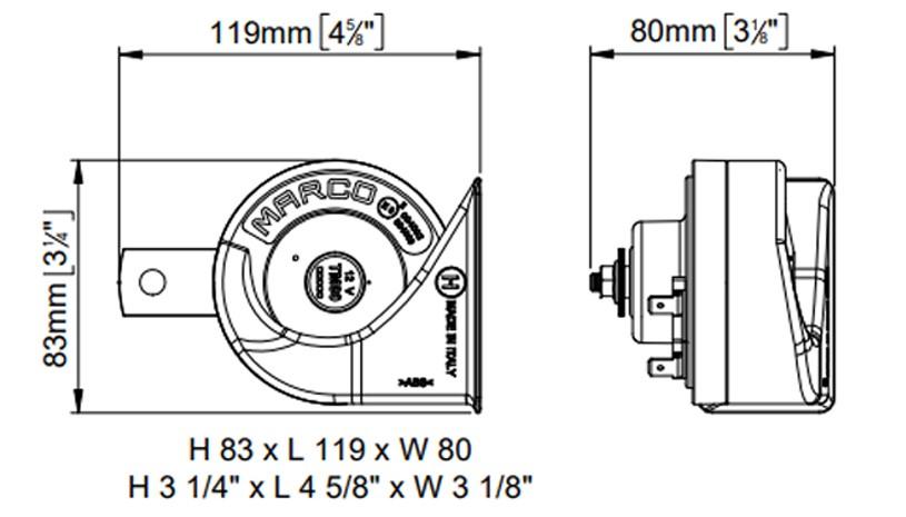 Set of electromagnetic horns | 12V | dimensions, Marco 100 080 12, TM80/N