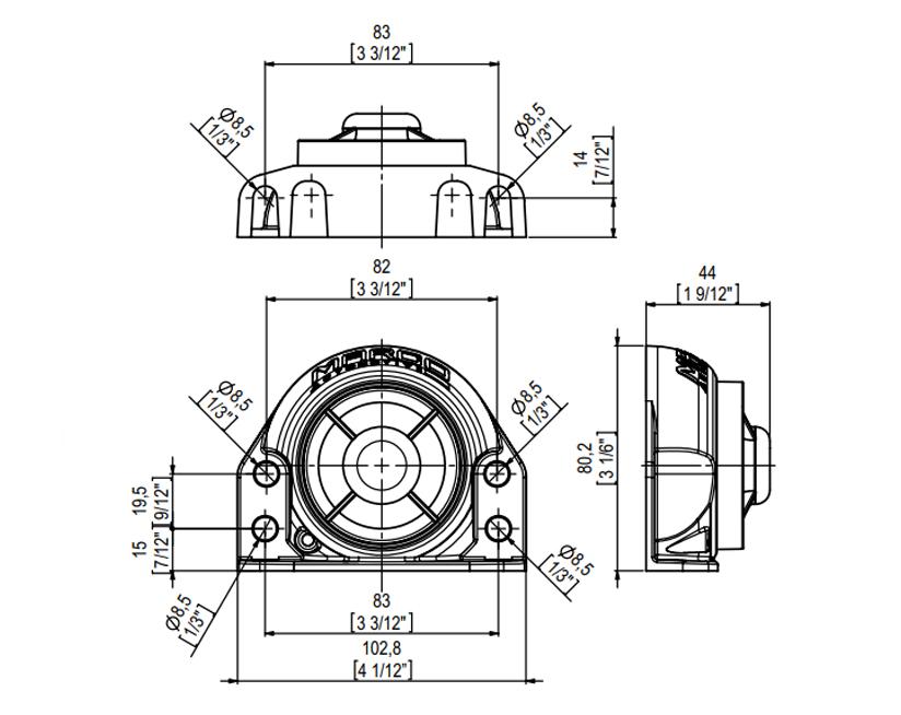 Rückfahrhupe | 9-28V | Dimensionen, Marco 104 121 15, BK2
