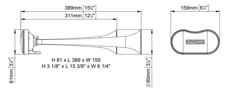 Avertisseur / Klaxon électrique à air 2 cornets | Son alterné.| 12V | Marco 112 340 12 | K2